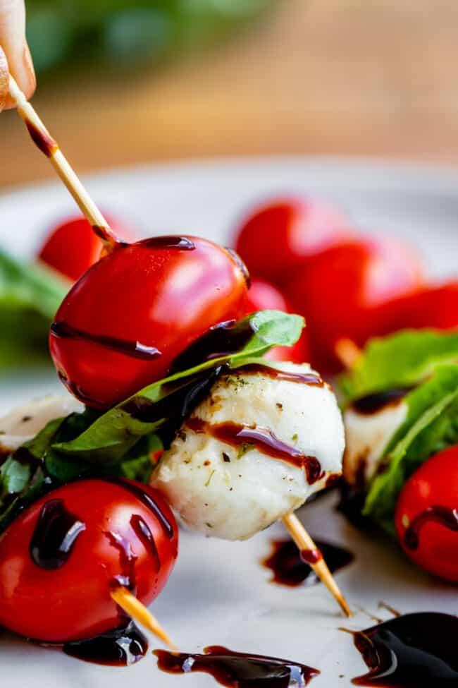 tomato mozzarella basil skewers