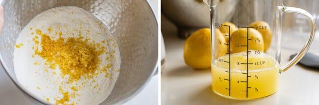 zested lemon and lemon juice for lemon sheet cake