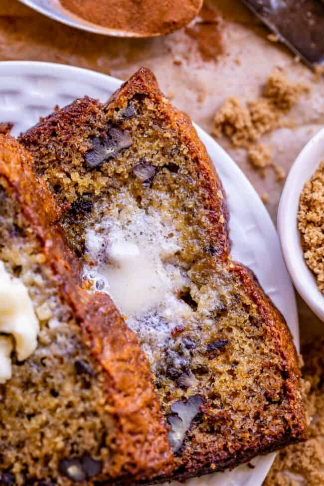 butter melting on moist banana bread recipe