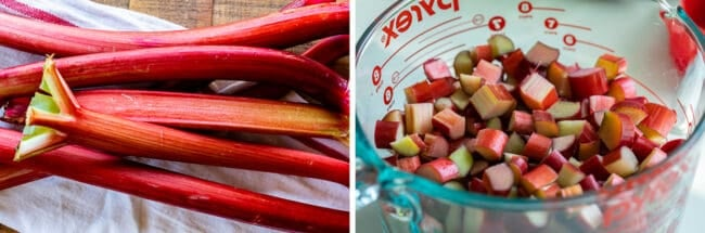 preparing rhubarb stalks and chopped rhubarb