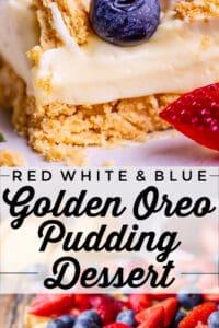 vanilla pudding dessert with golden oreos