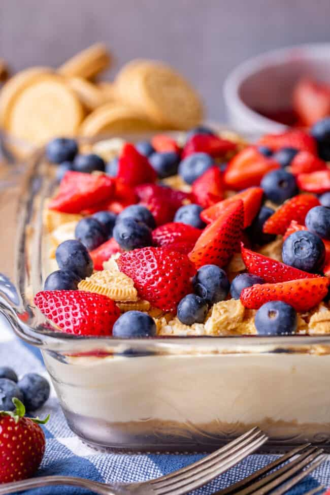 red white and blue vanilla pudding dessert