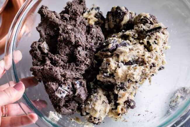 cookies and cream cookie dough in a bowl
