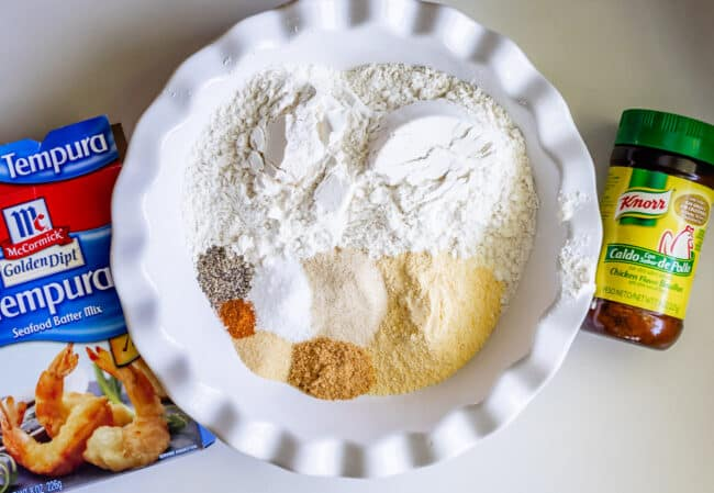 dry ingredients in a bowl for fried chicken