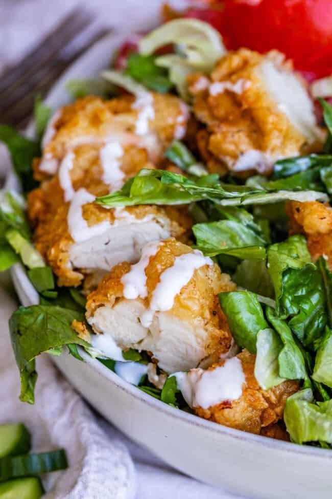 crispy chicken salad recipe with ranch close up