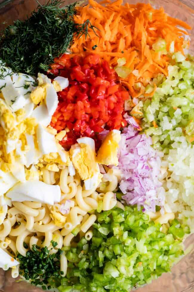 how to make macaroni salad with all ingredients in a bowl unmixed
