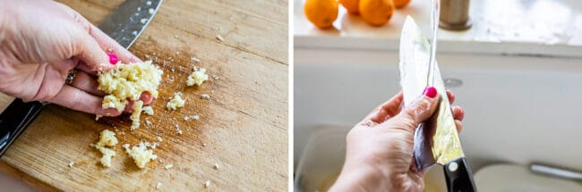 crushing garlic with a knife to make paste, and rubbing a knife to eliminate garlic scent on fingers