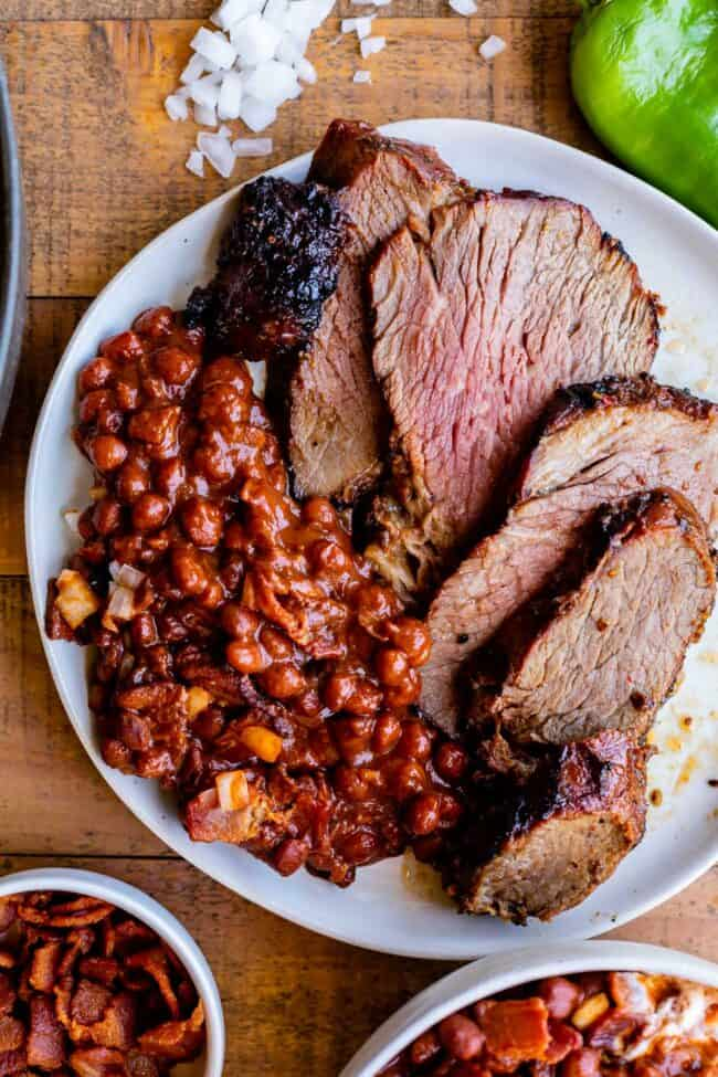 santa maria pinquito beans with tri tip on a plate