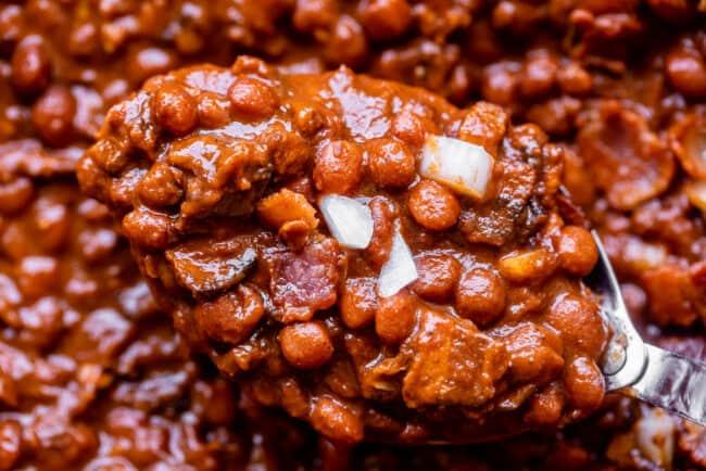 santa maria pinquito beans on a spoon