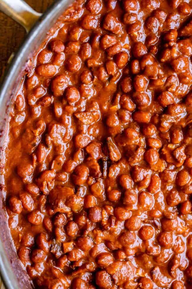 santa maria beans in a pan