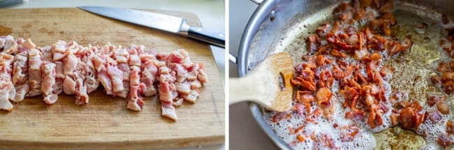 chopping and cooking bacon for pinquito beans
