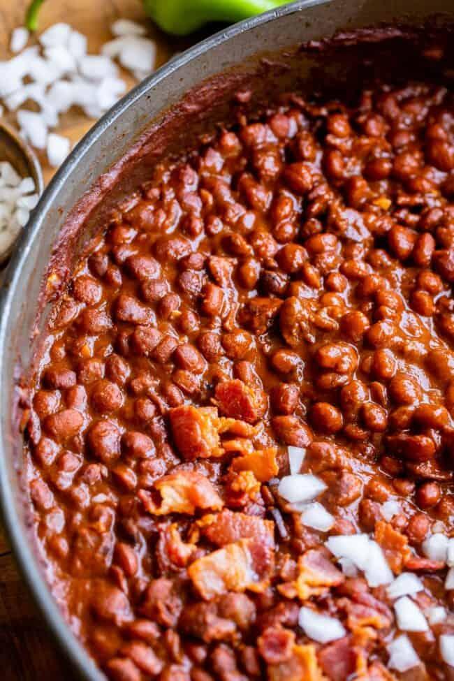 santa maria pinquito beans in a pan