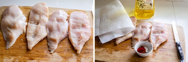 chicken cutlets patted dry with paper towels for chicken alfredo