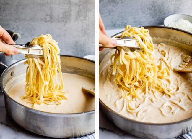adding pasta in increments to chicken fettuccine alfredo
