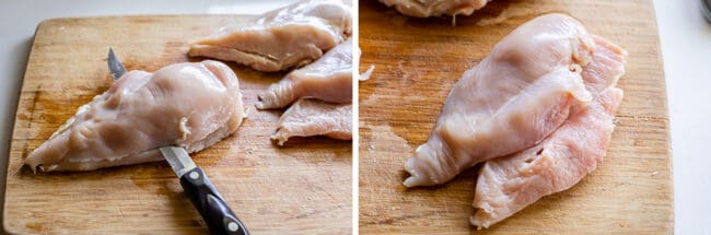 how to slice chicken breasts into cutlets