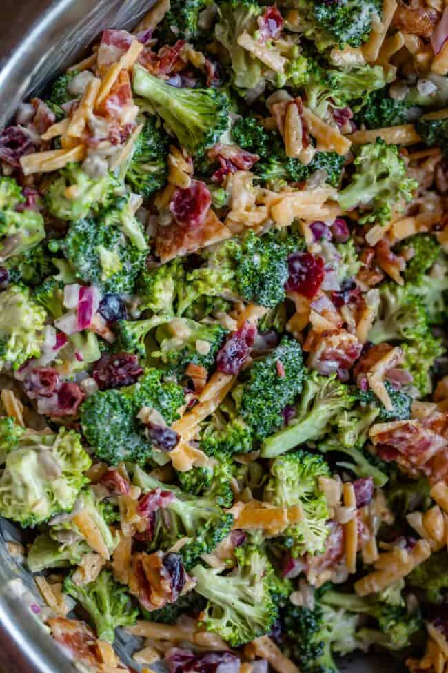 broccoli salad in a bowl from overhead
