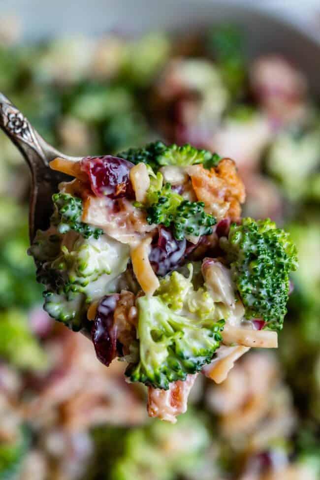 spoonful of broccoli cranberry salad