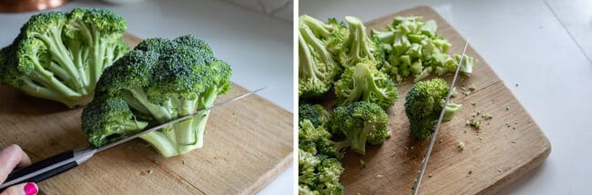 how to make chop broccoli into florets