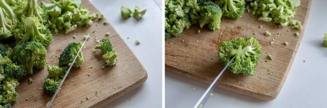 broccoli on cutting board, cutting into florets