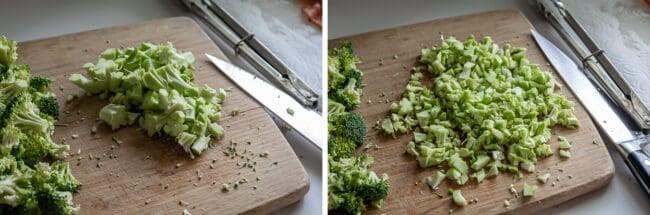 chopping broccoli stems to add to broccoli salad