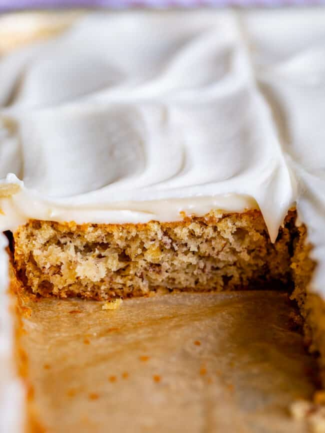 best banana cake recipe, shot from the side in the pan
