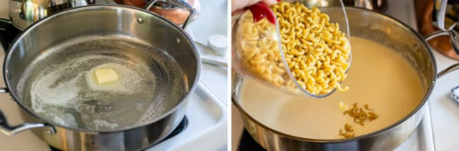 how to make easy mac and cheese; melting butter and adding dry elbow macaroni to sauce