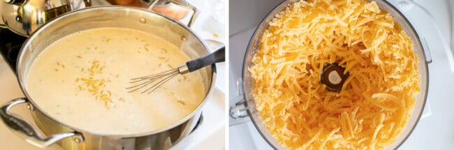 cheese sauce for macaroni and cheese; food processor full of cheddar cheese