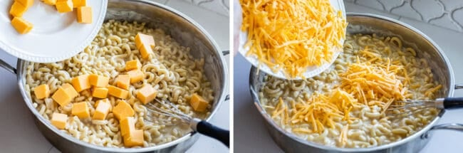adding Velveeta to a pan of cooked elbow macaroni; adding shredded cheddar to the same pot