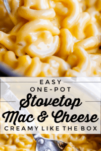 easy stove top mac and cheese with a spoon