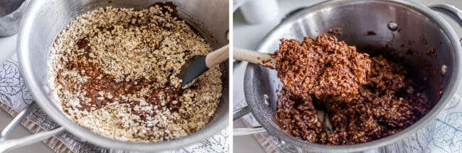 stirring oats into chocolate peanut butter batter