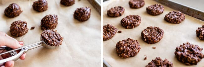 using a cookie scoop to shape no bake cookies