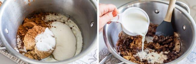 butter, brown sugar, sugar, and cocoa in a pot