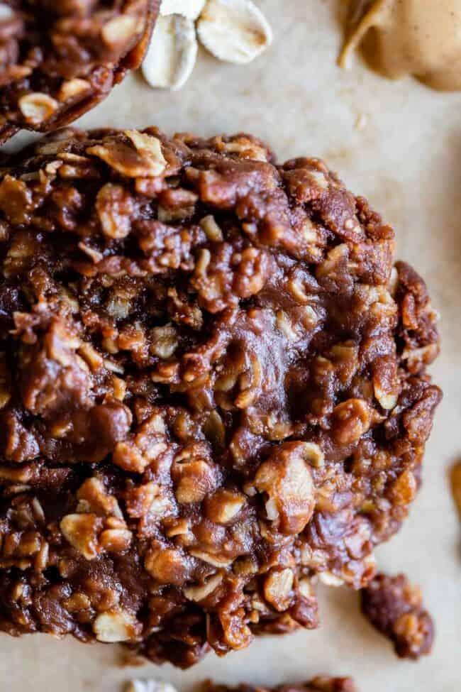 close up of chocolate no bake cookies