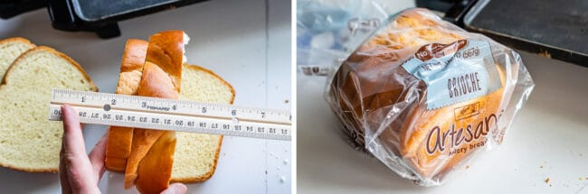 measuring thick and thin slices of bread, and a loaf of brioche bread