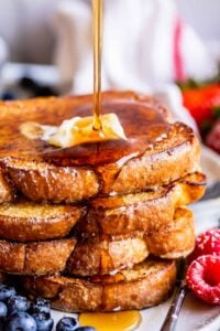 French toast recipe, stacked with a syrup drizzle