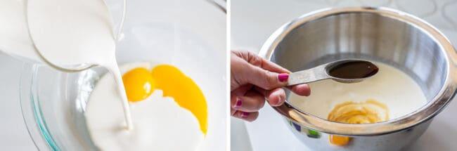 pouring cream into a bowl of egg yolks, then adding vanilla