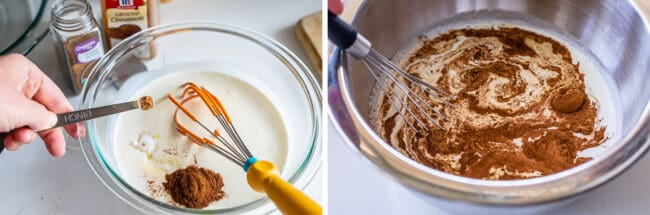 whisking cinnamon and nutmeg into the egg mixture for french toast