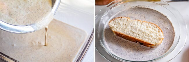 pouring egg mixture into a pie dish and soaking challah bread