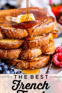 stack of brioche french toast with butter and syrup