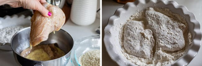 dipping chicken cutlets in egg mixture and coating in flour for chicken parmesan