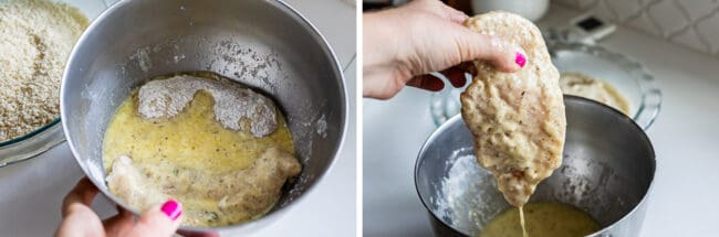 recoating floured chicken in egg mixture. egg dripping off of chicken.