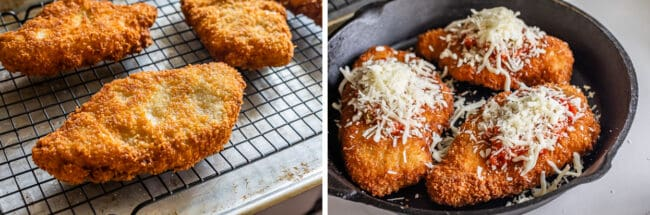 crispy chicken on a wire rack; chicken parmesan ready to go in the oven