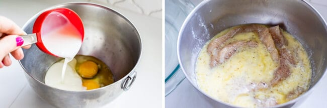 combining buttermilk and eggs for marinating chicken; chicken marinating in a bowl