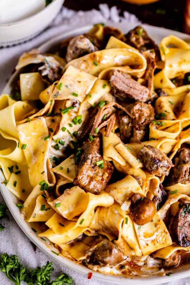 slow cooker beef stroganoff mixed together in a bowl
