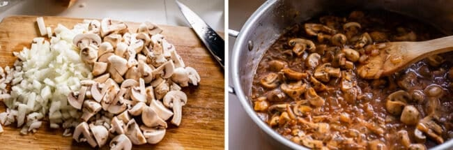 chopped onions and sliced mushrooms on a cutting board, then cooking in a sauce