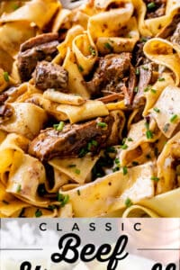 Classic Beef Stroganoff Recipe in a bowl with a fork