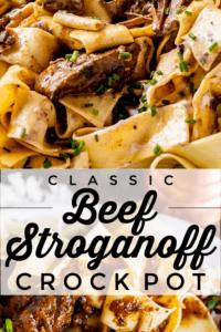 slow cooker beef stroganoff with sour cream