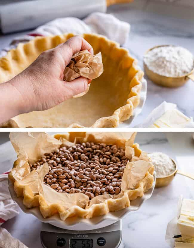 crumpling parchment paper for blind baking pie crust, filling with weights