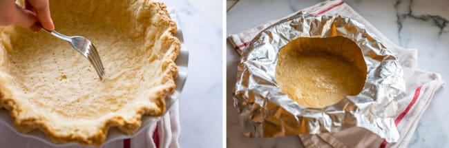 docking a pie crust with a fork, shielding with tin foil