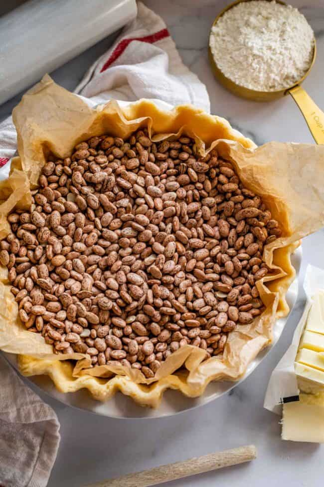 raw pie dough in a pan with beans as weights